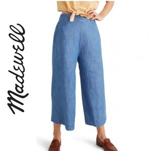 Madewell Chambray Huston Pull-On Crop Pants Size M